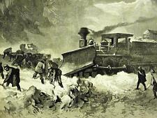 UNION PACIFIC RAILWAY STUCK SNOW DRIFT 1870 Art Matted