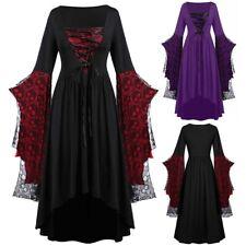 Women Plus Size Skull Lace Patchwork Bandage Bell Sleeve Halloween Maxi Dress