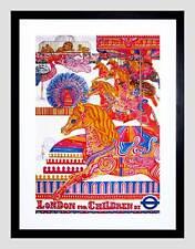 VINTAGE Pubblicità London Bambini Carousel Horse LION Framed Art Print b12x11533
