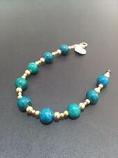 Natural Blue Green Eilat Stone Round Beaded Gold Filled Bracelet Israel Handwork