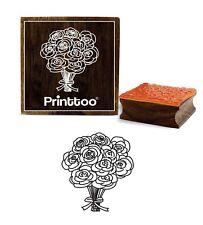 carte printtoo patronnage bouquet de fleurs de timbre carré en caoutchouc bois