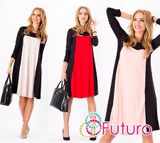 Elegante Para Mujer Cambio Vestido Cuello Redondo Manga Larga túnica Tamaños 8-18 8550