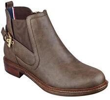 Women's Shoes Tommy Hilfiger NACINAN Ankle Bootie Elastic Gore Side Zip DK BROWN