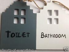 Wooden Bathroom or Toilet Door Sign with Jute Hanger