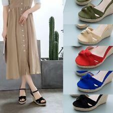 Womens Slingbacks Wedge Sandals Platform High Heels Peep Toe Buckle Casual Shoes