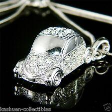 ~3D VW Beetle~ VOLKSWAGEN Classic CAR w Swarovski Crystal Charm Pendant Necklace