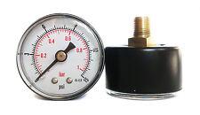 Pressure Gauge 50mm Dial 1/8 BSPT Horizontal 0/15,30,60.100,160,300 PSI & Bar.