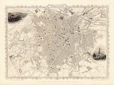 Old Vintage Antique Sheffield England decorative map Tallis ca. 1851