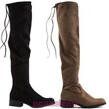 Scarpe donna stivali stivaletti elastici tacco basso eco camoscio nuovi YY6510