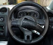 Adatto A VW Golf MK6 CARBONIO fibre&black LEATHER STEERING WHEEL COVER NUOVA 2008-2012