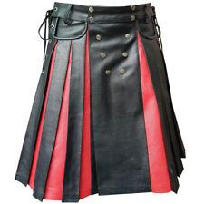 Mens BLACK RED Leather Gladiator Pleated Utility Kilt FLAT FRONT Pocket Wrap-K10