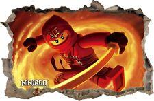 WANDAUFKLEBER Loch in der Wand 3D LEGO NINJAGO Wand Aufkleber Wandtattoo 90