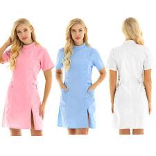 Women Nurse Dress Hospital Doctor Beautician Scrub Lab Long Coat Work Uniform