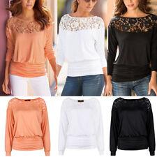 Damen Bluse Langarm Pullover T-Shirt Spitze Tops Oberteile Gr. 38 40 42 44 48 50