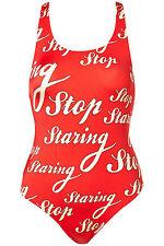 "FUN RED ""STOP STARING"" SWIMSUIT SWIMMING COSTUME SZS 8-16 BNWT"
