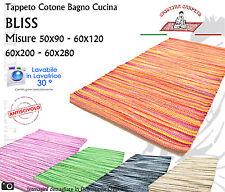 BLISS Tappeto Cotone Lavabile Antiscivolo Bagno Cucina Varie Misure Vari Colori
