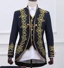 Men's embroidery Dress Formal suit Blazer Gold royal Jacket Military bar Coat3pc