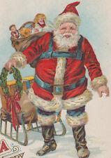 Santa with Gifts Sled P. Sander Christmas Postcard