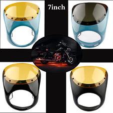 7'' Cafe Racer Bobber Front Headlight Fairing Windshield For Harley Honda Yamaha