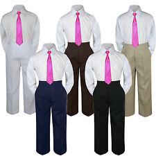 3pc Boy Suit Set Fuchsia Pink Necktie Baby Toddler Kid Formal Shirt Pants S-7