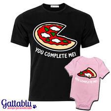 T-shirt papà e body bebè neonata You complete me, pizza e fetta di pizza!
