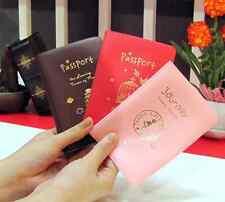 Cute passport case trip travel holder pocket card journey girl pink red Brown