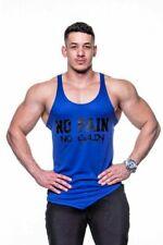 Mens Bodybuilding Gym Training Vest Beach Wear Tank Top Cool Blue Mesh Stringer