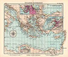 1944 SMALL GERMAN MERCANTILE MARINE MAP ~ EASTERN MEDITERRANEAN SEA ODESSA etc