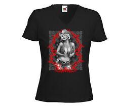 Western t-shirt Femmes Cowboy Marilyn 2 blanc vintage rockabilly