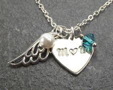 Custom My Mom My Guardian Angel Necklace with Swarovski Crystal Memorial Gift