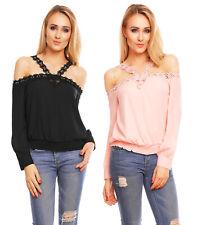Voyelles Damen Top Pullover Bluse Sweatshirt Oberteil T-Shirt lange Ärmel L512
