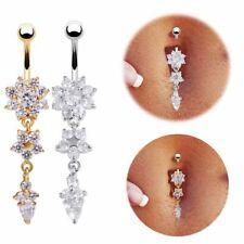 Flower Belly Button Piercing Bars Barbells Navel Crystal Body Bar Drop Dangle UK