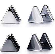 Triángulo Unisex Negro sólido oído falso Tapones Acero Inoxidable Pernos pulida de metal