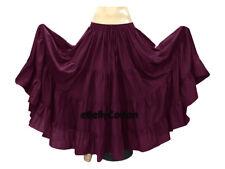 Purple Belly Dance Cotton 10 Yard 4-Tier Skirt Gypsy 30 Color
