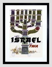 TRAVEL ISRAEL TWA MENORAH JERUSALEM AIRLINE VACATION AD ART PRINT B12X1597