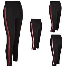 Women Gym Sport Leggings Side Striped Ladies Active Wear Yoga Pants Size XS-L