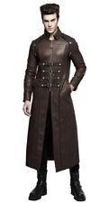 Largo abrigo clase marrón piel sintética con correas, cinchas steapunk,pu