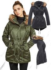 NEUF pour femmes FAUSSE FOURRURE PARKA Veste Manteau rembourré taille 8 10 12 14