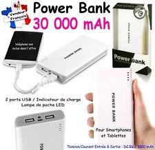 Power Bank 30000 mAh - Coloris BLANC GRIS : 2x USB / Led / Indicateur de charge