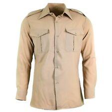 Genuine French army shirt fatigue dead stock chino khaki military poly wool NEW