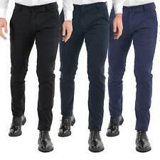 Pantalone Uomo Invernale Blu Nero Elegante Slim Tasca America Pantaloni Casual