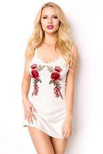 Mini Robe Femme blanche dentelle nouvelle fleurs rouges courte vêtement uy 15116