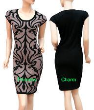 Black Brown Knit Bodycon Pencil Dress Paisley Pattern AU Size 8 10 12 14 New