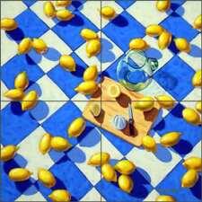 Fruit Tile Backsplash Ceramic Mural Cole Lemons Lemonade Citrus Art BCA023