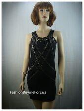 Celebrity Women Designer Clubwear Cocktail Metal studs Black mini Dress S M L XL