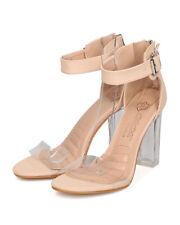 New Women DbDk Chacha-10 Faux Suede Lucite Ankle Strap Block Heel Sandal