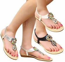 Ladies Women Flat Stretch Slip On Gem Diamante T-Bar Toe Post Sandals Shoes Size