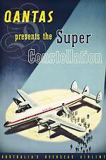 PLAQUE ALU DECO AFFICHE QANTAS SUPER CONSTELLATION AUSTRALIE AIRLINE AVION