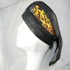 Zandana Cotton Print Leatherette Bandana Skull & Crossbones & Flames, Black
