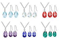 A17 Red Green Purple Dark Blue White AB Almond Earrings Jewellery Necklace Set